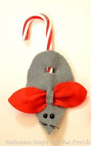 make a mouse candycane ornament or present topper