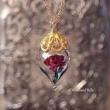 rose glass necklace images Red rose flower glass terrarium gold fill necklace by woodland belle jpg