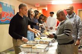 barack obama and serve thanksgiving dinner to homeless