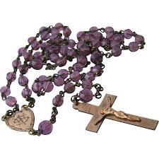 purple rosary antique purple glass rosary s vintage antique jewelry