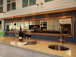 Stainless Steel Kitchen Backsplash by Modern Kitchen Decoration Using Blue Mosaic Tile Mirrored Kitchen