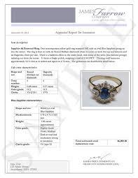 sample diamond and jewelry appraisals james farrow company