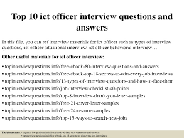 top 10 ict officer interview questions and answers