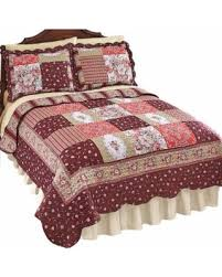 amazing deal on carissa country patchwork quilt twin burgundy