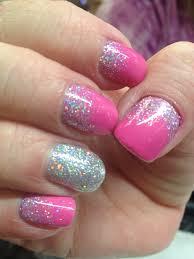 cnd shellac pink glitter reverse french nail art pinterest
