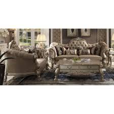 sofa dresden acme united acme 52090 52091 dresden 2pcs bone velvet gold patina