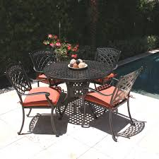 Round Patio Table by Comfortcare 5 Piece Metal Outdoor Dining Set With 48