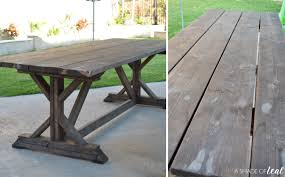 outdoor rustic farmhouse table makeover