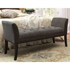 bedroom black upholstered accent bench with arm and black wooden