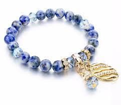 crystal charm bracelet beads images Sea blue natural stone crystal bead charm bracelet goddess jewelry jpg