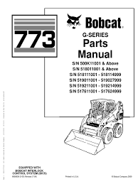 bobcat compact mini excavator 773 g series parts manual business