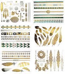 amazon com shimmer temporary tattoos 75 metallic native