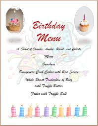 6 party menu template outline templates