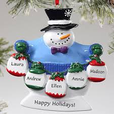 custom snowman ornament 5 family names ornament snowman and