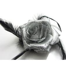 Prom Wrist Corsage 1x Rose Flower Feather Prom Wrist Corsage Hair Clip Fascinator Pin