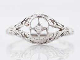 art deco engagement ring 01 antique diamond in 18k gold