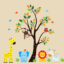 Animal Wall Decals For Nursery Personalized Nursery Animals With Tree Wall Decals 175 Baby