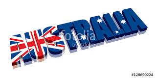 3d australia word text flag letters