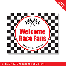 race car party personalized diy printable sign race car party