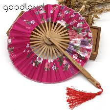 personalized folding fans for weddings free shipping 10pcs lot with gift bag bamboo cherry blossom