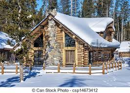 winter cabin log cabin in the winter forest of idaho log cabin and fence