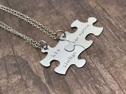 puzzle necklace images Set of puzzle necklaces for couples his civilian her marine jpg