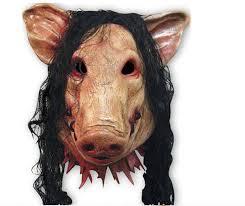 pig pig mask jigsaw saw latex mask artificial hair halloween
