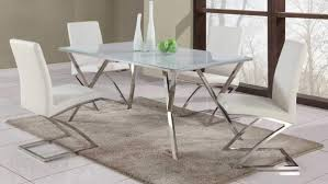 tempered white glass table with zig zag white dining chairs