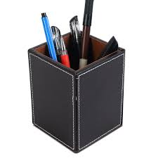 Desk Organizer Leather Pen Pencil Holder Cup Desk Organizer Office Wood Leather Storage