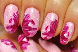 nail art pink nails pink peonies floral design youtube