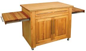 light brown wooden small butcher block island with trundle and