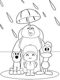pocoyo friends umbrella coloring color luna