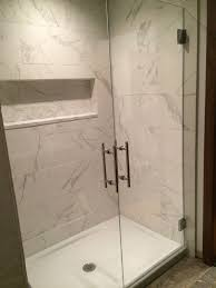 walk in shower replace tub kohler cast iron base and glass doors