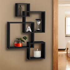 Furniture Choice Intersecting Squares Floating Wall Shelf Black U2013 Best Choice