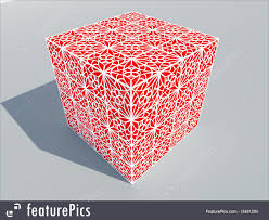 3d ornamental box with detail illustration