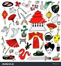japan color hand drawn set stock vector 183243401 shutterstock