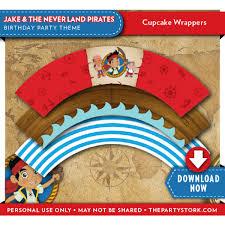 jake neverland pirates birthday cupcake wrappers
