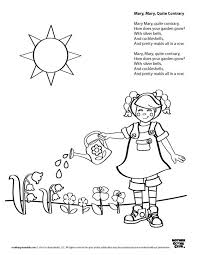 mary quite contrary coloring page