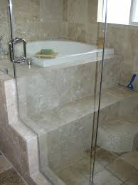 travertine tile ideas bathrooms now this is a cool idea glass wall shower on one side and bath on
