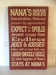Home Decorating Rules by Nana U0027s House Rules Home Decor Wood Sign Wall Hanging