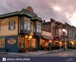 Small Town Typical Small Town American Clapboard Restaurants And Shops At
