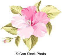 vector clip art of single bright red hibiscus tropical flower