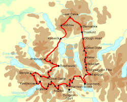 Map Walking Distance Bob Graham Round Self Guided Walking Holidays U2014 Contours Walking