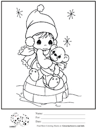 kids coloring page precious moments igloo winter coloring sheet