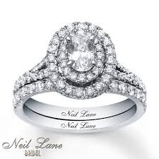 Neil Lane Wedding Rings by Jared Neil Lane Oval Bridal Set 1 1 2 Ct Tw Diamonds 14k White Gold