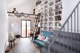 Rolling Ladder Bookcase Interiors Best Reading Nook Features Hanging White Mesh Hammock To