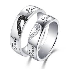 rings love couple images True love white and black sapphire s925 silver couple rings jpg