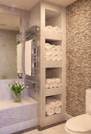 bathroom with shelves for towels love how this feels like a spa