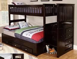 furniture dark brown wooden bunk bed with storage drawer on