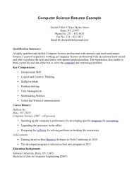 Example Of Skills In Resume by Sample Computer Science Resume Berathen Com